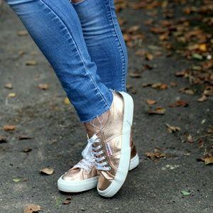 Superga Shoes - Superga Metallic Classic Sneakers in Rose Gold