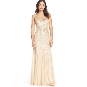 Adrianna Papell Dresses & Skirts - Gold  V-neck Beaded Mesh Mermaid Godet Gown