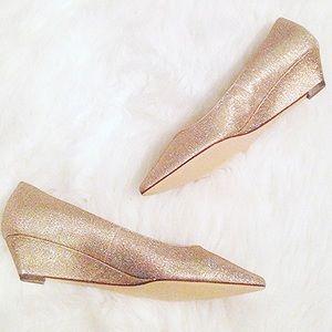 Nina Shoes - Nina shimmer gold pointy wedges