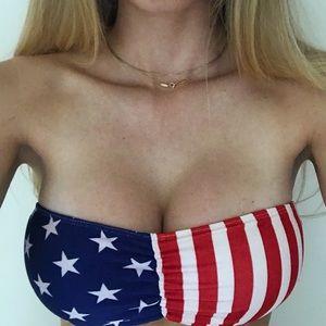 American Apparel Other - American Apparel American Flag Bandeau Bikini Top