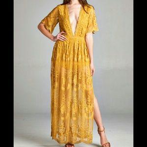 Honey Punch Dresses & Skirts - Deep V Lace Boho Dress