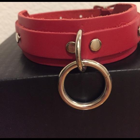 Dollskill Jewelry - Red Leather Ring CHOKER Grunge Dollskill Style
