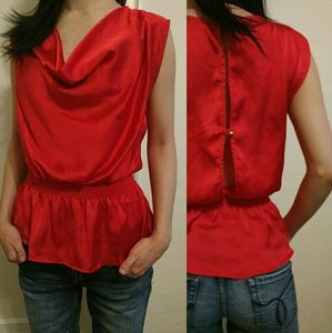 River Island Tops - Silky red open back cowlneck tunic top