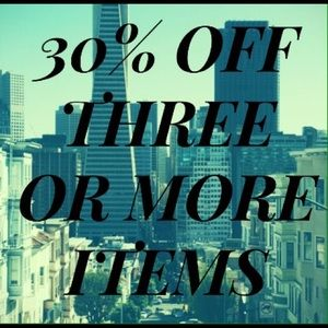 30% off three items or more