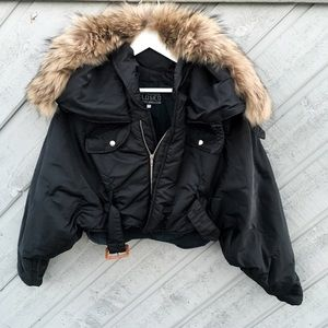 Closed Jackets & Blazers - Designer real fur hooded jacket