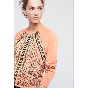 NWT Anthropologie Beaded Rose Sweatshirt