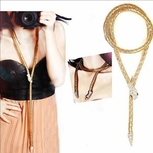 Jewelry - Gold and crystal statement snake chain price drop