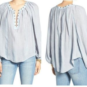 """FREE PEOPLE """"Against All Odds"""" Grommet Blouse"""