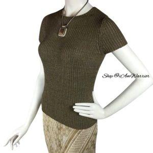 LOFT Sweaters - Ann Taylor Loft taupe/olive short sleeve sweater