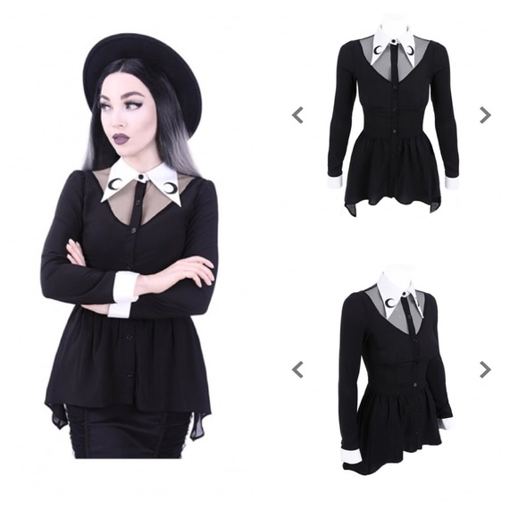 Gothic Plus Size Luna Peter Pan Collar Shirt