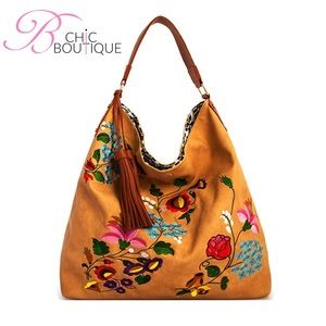 Bchic Handbags - 🌸SPRING SALE🌸Taupe Reversible Embroidered Hobo
