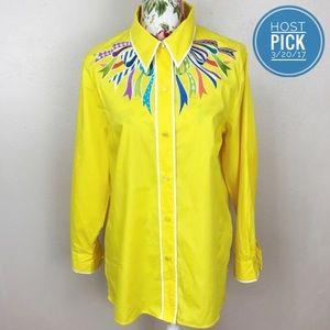 Bob Mackie Tops - Yellow Bob Mackie ribbon button down