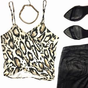 Arden B Tops - Arden B Animal Print Wrap Crop Top