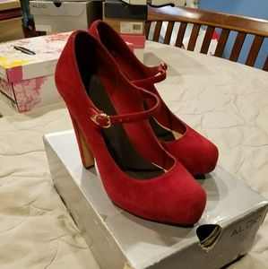 Red suede Mary Jane platform As. 8