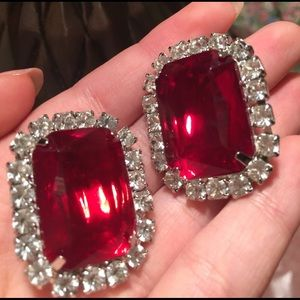 Red Glass Clip On Earrings