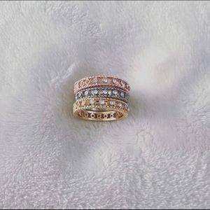 3 tone stone rings