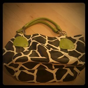 Unknown Handbags - Animal Print Purse with Green Accents