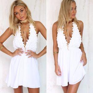 White Halter Petal Dress