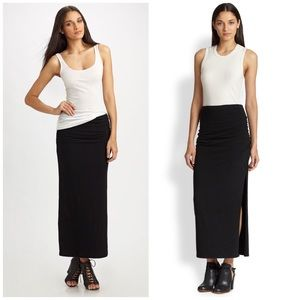 James Perse Dresses & Skirts - James Perse Ruched Split-side Jersey Maxi Skirt