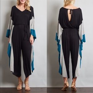 BRENDAN flowy & boho chic jumpsuit -TEAL mix