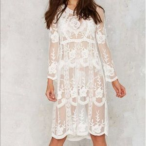 6a4a54aed3 Embroidered Lace Mid Length Cover Up Dress