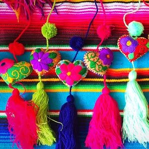 Mexican Heart Keychain Pom Poms Felt Embroidered