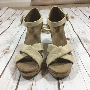 TOMS Shoes - Toms Tan Strappy Wedge Sandals