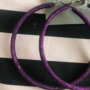 Luxe Essentials Apparel Jewelry - Purple glitter hoop earrings