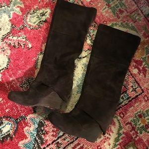 Fergie dark brown suede wedge knee high boot
