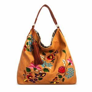Fabfindz Handbags - 🌻SPRING SALE🌻Taupe Reversible Embroidered Hobo