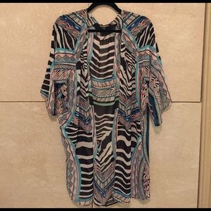 Express zebra print tunic kimono size small