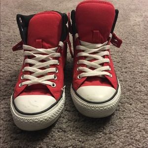 71301635e9 Converse Shoes | Red High Top With Thick Tongue | Poshmark