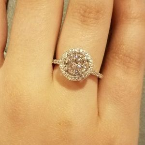Real 925 sterling silver engagement promise ring
