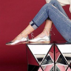 Boutique Shoes - Lace Up Ballerina Flat