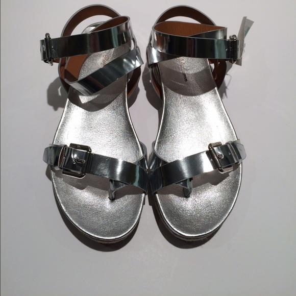 c4cd0eea9 New Ralph Lauren Raina Silver Flat Leather Sandal