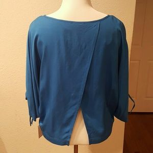 1. State  Tops - 1 State Medium Blue Split Back Blouse