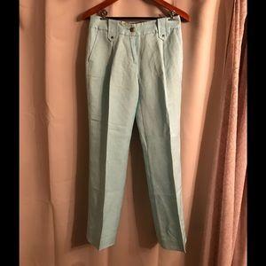 Class Roberto Cavalli Pants - Roberto Cavalli Class Turquoise Linen Slacks