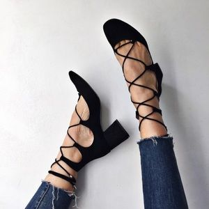 Zara Shoes - Zara Lace Up Block Heels
