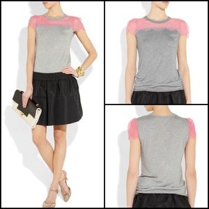 RED Valentino Tops - RED Valentino Lace Trimmed Modal T-Shirt