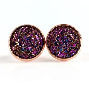 thejeweladdict Jewelry - 3 for 15🎀flat copper Magenta faux druzy studs