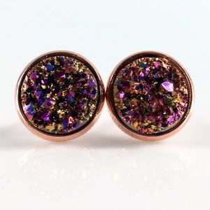 thejeweladdict Jewelry - 3 for 15🎀chunky Magenta Copper faux druzy studs