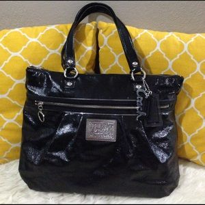 Coach Handbags - Coach Poppy Large Patent Leather Black Tote