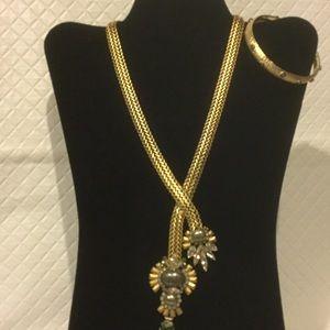 Elizabeth Cole Necklace and Bangle Bracelet