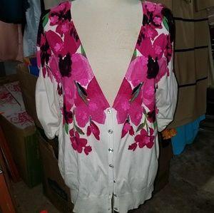 Pink and white diamond cardigan
