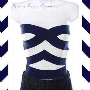 Pleasure Doing Business Tops - PLEASURE DOING BUSINESS Chic Navy/White Stripe Top