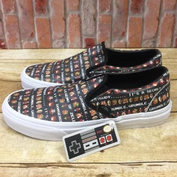 a60dd3f82b Vans Nintendo Leather Black Zelda Slip Ons Shoes