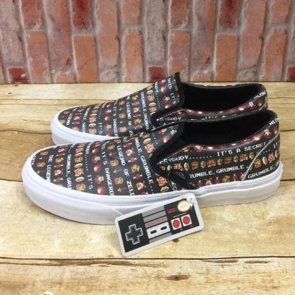 0a63c42bdb Vans Nintendo Leather Black Zelda Slip On Shoes