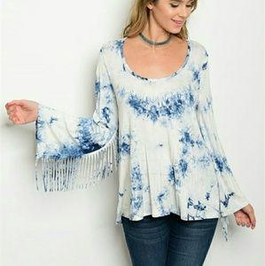 Tops - Trendy fringed detail tie dye top NWOT