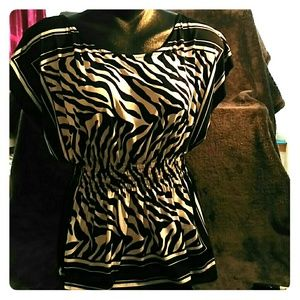 Halo Tops - Large zebra print top