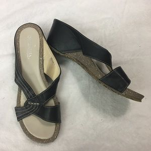 Patrizia Black Slip On Sandals Size Us 10 Euro 40
